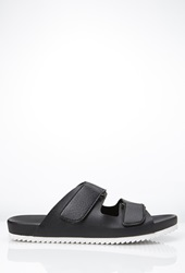 Forever 21 Buckled Faux Leather Sandals Black