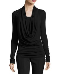 Long Sleeve Cowl Neck Jersey Top Black