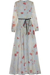 Valentino Belted Floral Print Silk Chiffon Gown