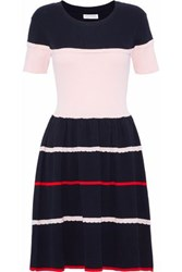 Chinti And Parker Striped Ribbed Knit Cotton Silk Blend Dress Navy