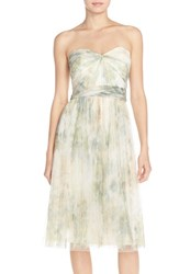 Women's Jenny Yoo 'Maia' Print Tulle Convertible Tea Length Fit And Flare Dress Ivory Sage Rose