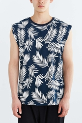 Vanishing Elephant Floral Muscle Tee Navy