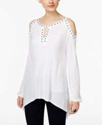 Inc International Concepts Studded Cold Shoulder Top Only At Macy's Bright White