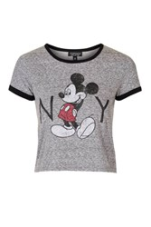 Topshop Mickey Mouse New York Tee Grey Marl