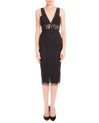 Victoria Beckham Plunging V Neck Sheer Waist Lace Dress Black