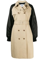 Msgm Double Breasted Trench Coat With Bomber Sleeves Neutrals