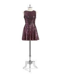 Hailey Logan Sequin Fit And Flare Dress Black Magenta