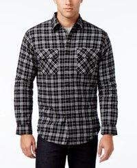 Club Room Men's Big And Tall Red River Plaid Shirt Jacket Only At Macy's Deep Black