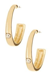 Spring Street Bezel Set Crystal Hoop Earrings Metallic