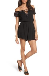 Lush Women's Embroidered Off The Shoulder Romper Black