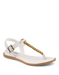 Sperry Leather Braided T Strap Sandals White