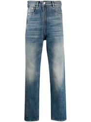 Martine Rose Faded Effect Straight Leg Jeans Blue
