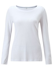 Jigsaw Pima Cotton Long Sleeve Crew Tee White