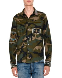Valentino Camo Print Long Sleeve Shirt With Beaded Trim Green