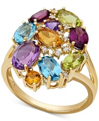Macy's Multi Gemstone 5 Ct. T.W. And Diamond Accent Cluster Ring In 10K Gold