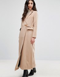 Neon Rose Wrap Over Coat Camel Brown