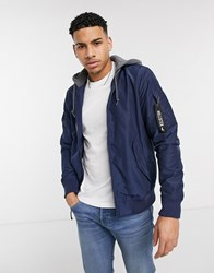 Hollister Mid Weight Bomber Jacket In Navy