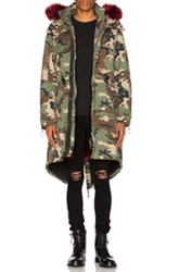 Off White Camouflage Parka With Faux Fur In Abstract Green Abstract Green