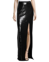 Halston Long Sequined High Slit Maxi Skirt Black White
