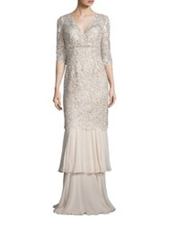 Rickie Freeman For Teri Jon Lace Mermaid Gown Champagne