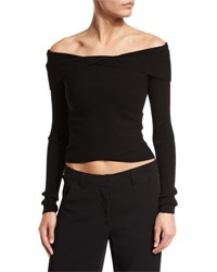 A.L.C. Rayne Cropped Overlap Ribbed Sweater Black