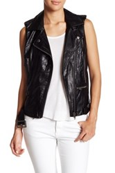 Jolt Faux Leather Biker Vest Black