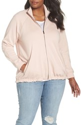 Caslon Plus Size Off Duty Knit Track Jacket Pink Smoke