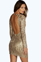 Boohoo Beth Sequin Open Back Bodycon Dress Gold
