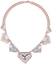Guess Rose Gold Tone Large Crystal And Python Look Collar Necklace 18 2 Extender Rose White