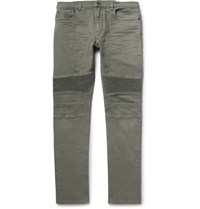 Belstaff Eastham Slim Fit Denim Biker Jeans Gray Green