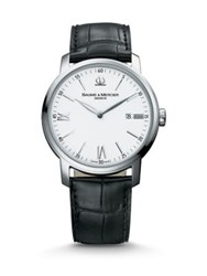 Baume And Mercier Classima 8485 Stainless Steel Alligator Strap Watch Black