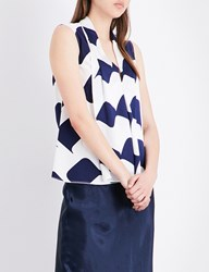 Victoria Beckham Sleeveless Silk Blouse Navy White