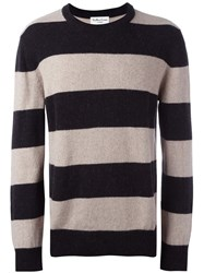 Ymc Striped Crew Neck Jumper Black