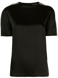 David Koma Sequin Shoulder T Shirt Black