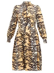 Shrimps Eros Tiger Print Pussy Bow Silk Blend Midi Dress Brown Multi