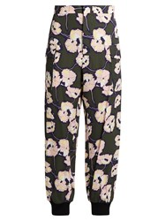 Marni Whisper Print Cropped Trousers Green Multi