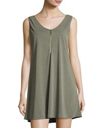 Casual Couture Front Zip Sleeveless Swing Dress Olive