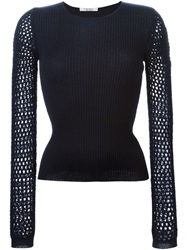 Yves Saint Laurent Vintage Open Knit Sleeve Sweater Blue