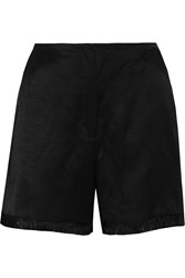 Sandro Philippine Frayed Satin Twill Shorts Black