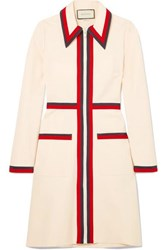Gucci Grosgrain Trimmed Stretch Crepe Dress Ivory