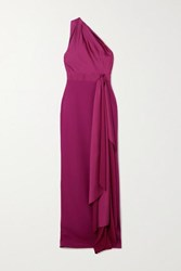 Solace London Mara One Shoulder Draped Satin And Crepe Gown Magenta