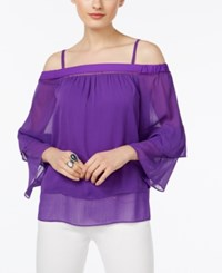 Inc International Concepts Tiered Off The Shoulder Top Only At Macy's Vivid Purple