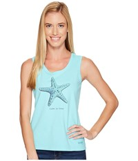 Life Is Good Starfish Sleeveless Crusher Scoop Fresh Blue Women's Sleeveless