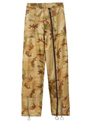 Off White Camouflage Print Zipped Track Pants Green Multi