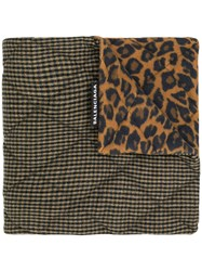 Balenciaga Houndstooth And Leopard Print Scarf Brown