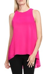 Vince Camuto Women's Sleeveless Crepe High Low Top Pop Pink