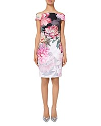 Ted Baker Emly Painted Posie Off The Shoulder Dress Baby Pink