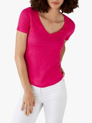 Pure Collection Linen Jersey T Shirt Bright Pink