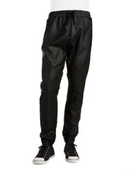 Rogue State Faux Leather Jogger Pants Black