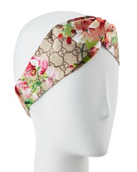 Gucci Gg Blooms Silk Headband Powder Pink Brown